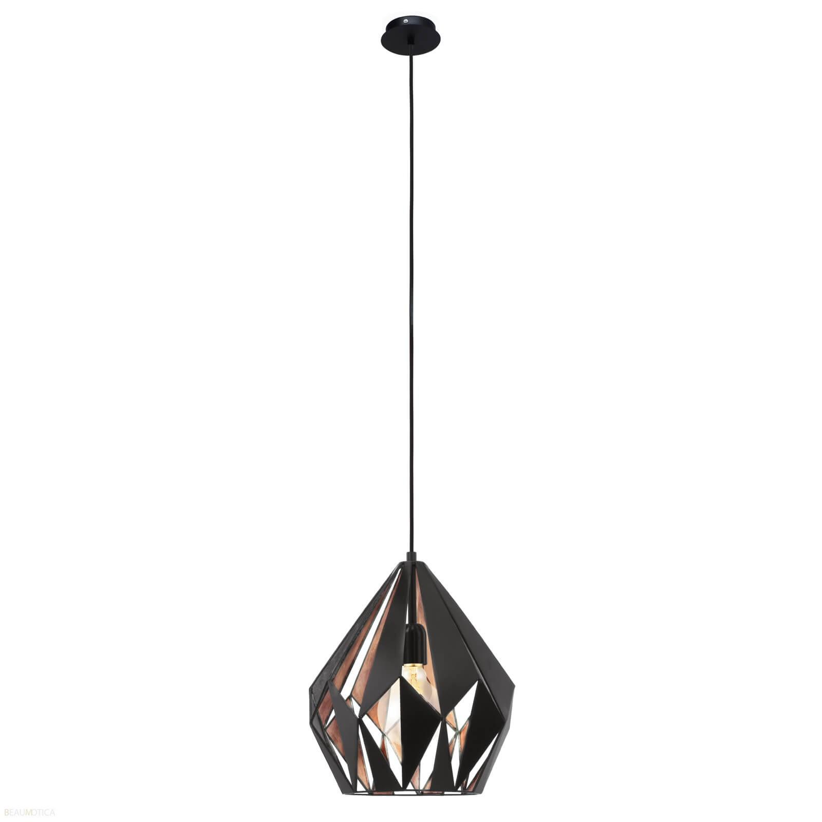 Afbeelding van Eglo Carlton 1 Hanglamp Zwart, Koper (ø31cm)
