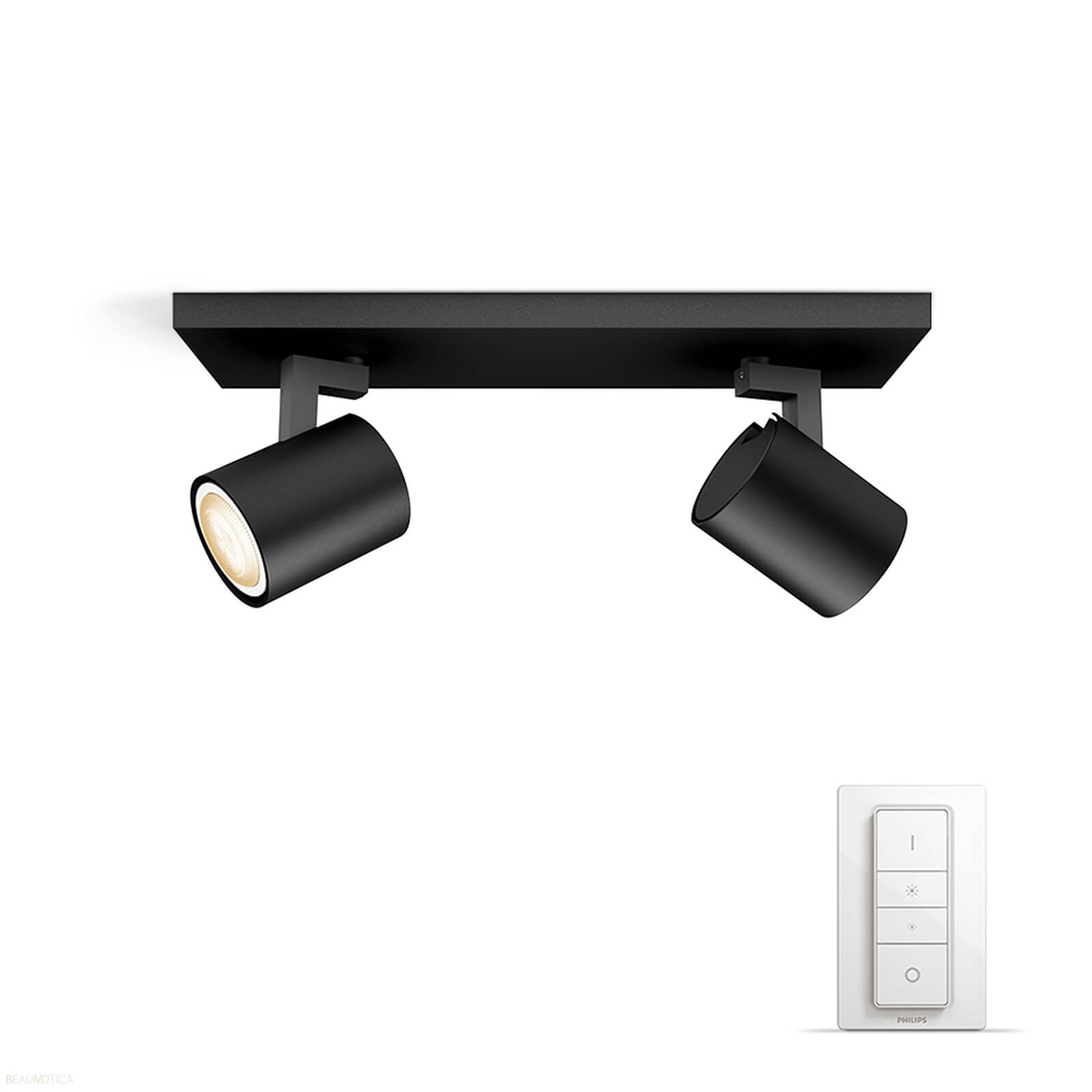 philips hue runner 2 spot zwart white ambiance incl dim switch. Black Bedroom Furniture Sets. Home Design Ideas