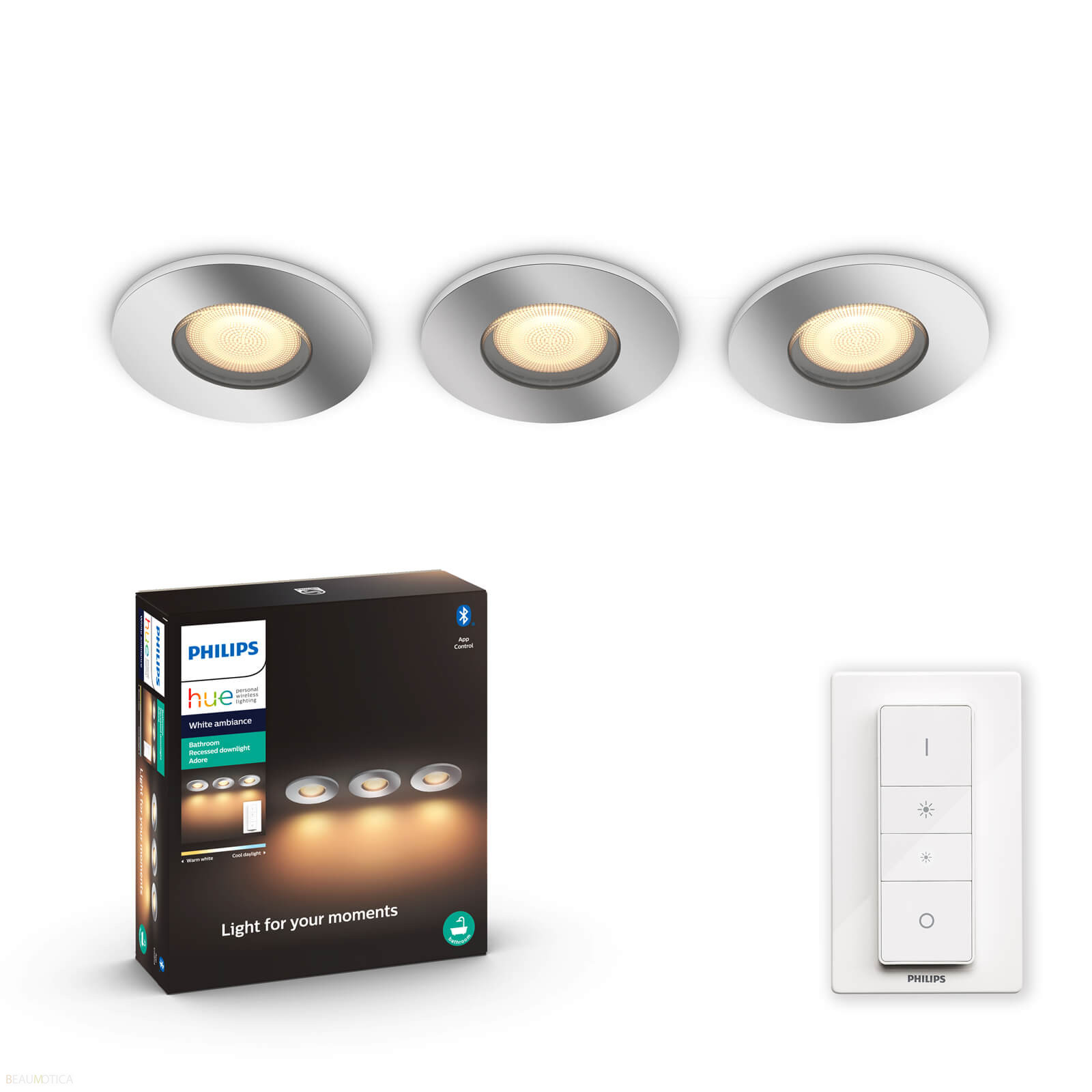 Philips Hue Adore Badkamer Inbouwspot White Ambiance Chroom 3 Spots Incl Dim Switch