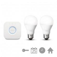 Philips Hue White Starter Pack E27 A60 (2 lampen met Bridge 2.0)