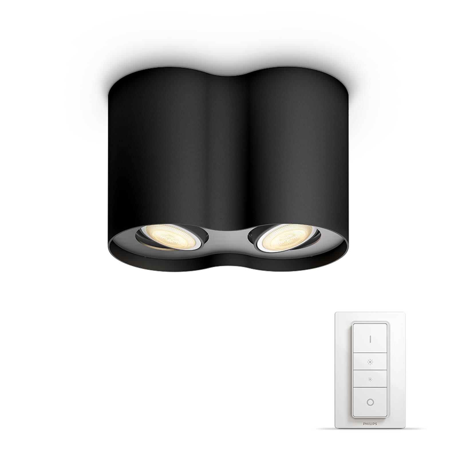 philips hue pillar 2 spot zwart white ambiance incl dim switch. Black Bedroom Furniture Sets. Home Design Ideas