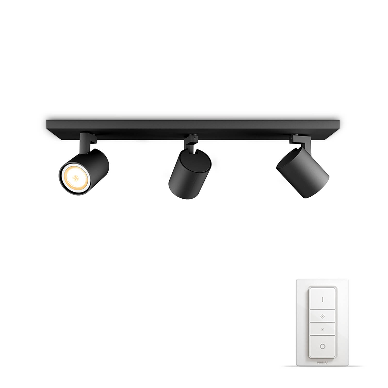 philips hue runner 3 spot zwart white ambiance incl dim switch. Black Bedroom Furniture Sets. Home Design Ideas
