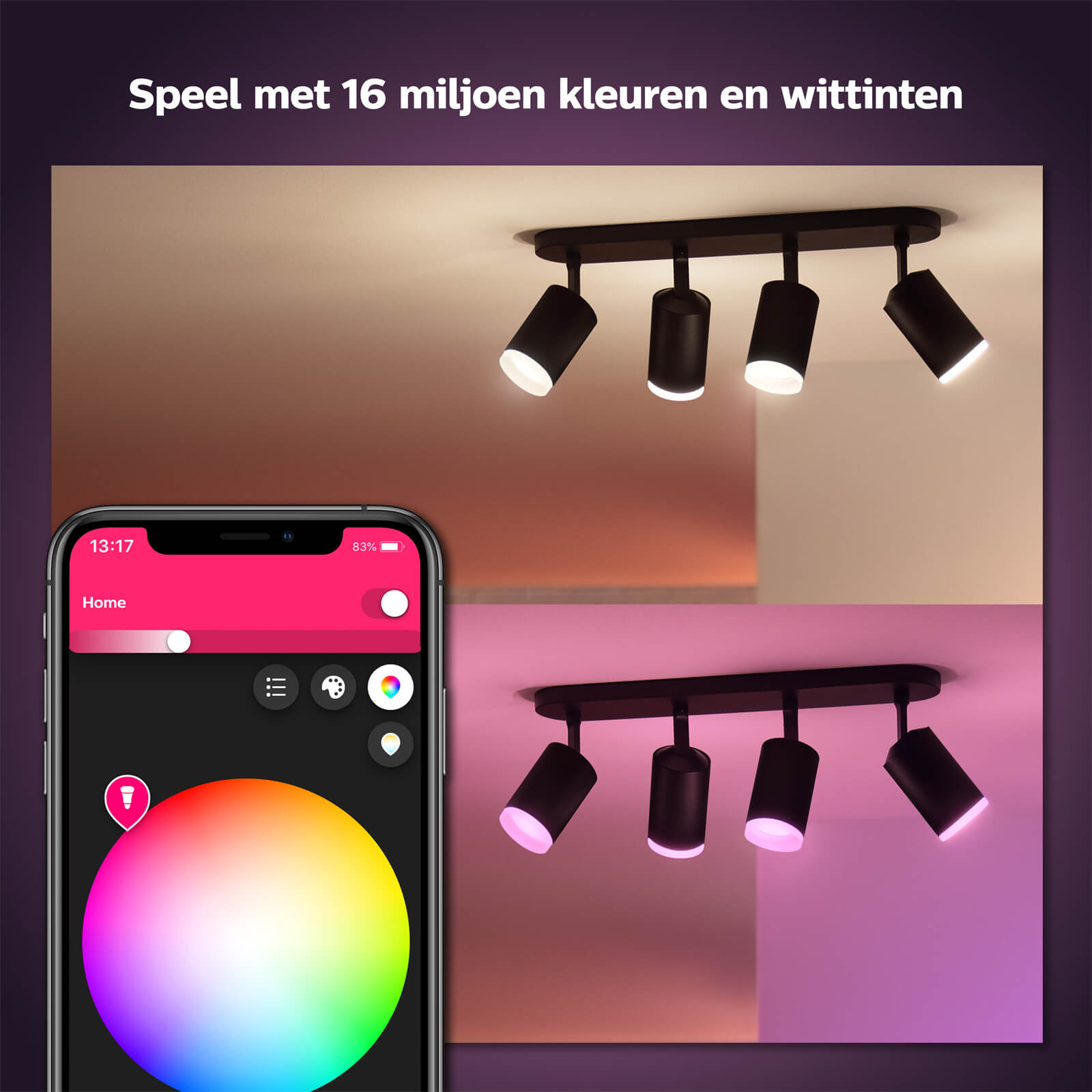 Philips Hue Fugato opbouwspot White and Color 4 spots zwart