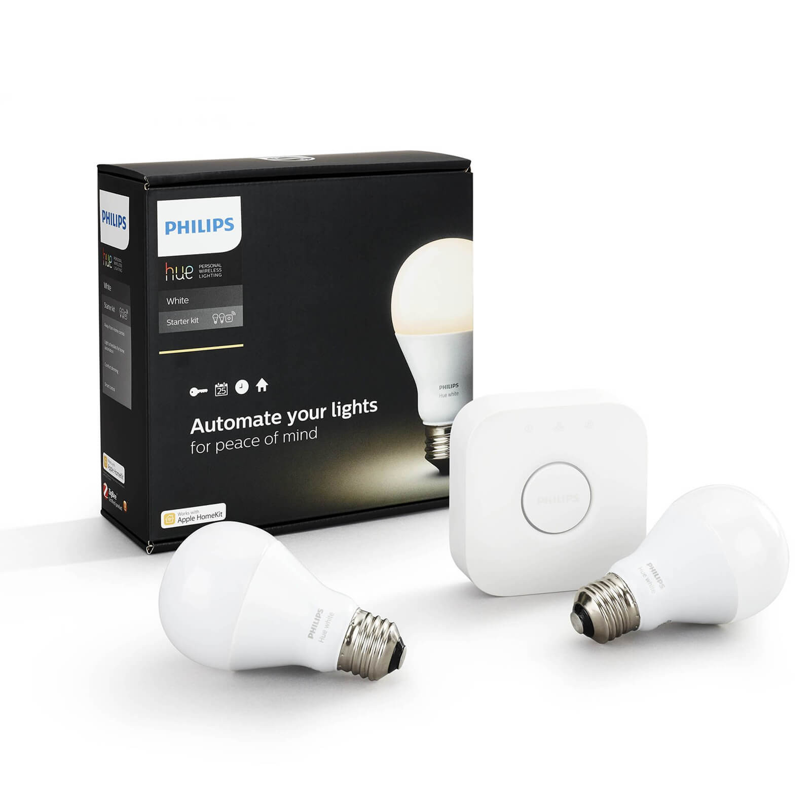 philips hue white starter pack e27 a60 2 lampen met bridge 2 0. Black Bedroom Furniture Sets. Home Design Ideas