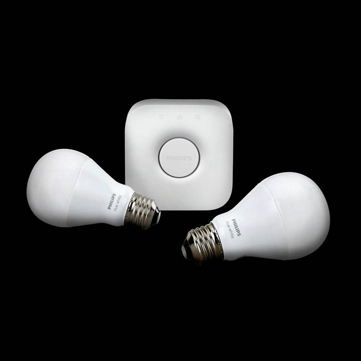 philips hue white starterset e27 a60 2 lampen met bridge 2 0. Black Bedroom Furniture Sets. Home Design Ideas