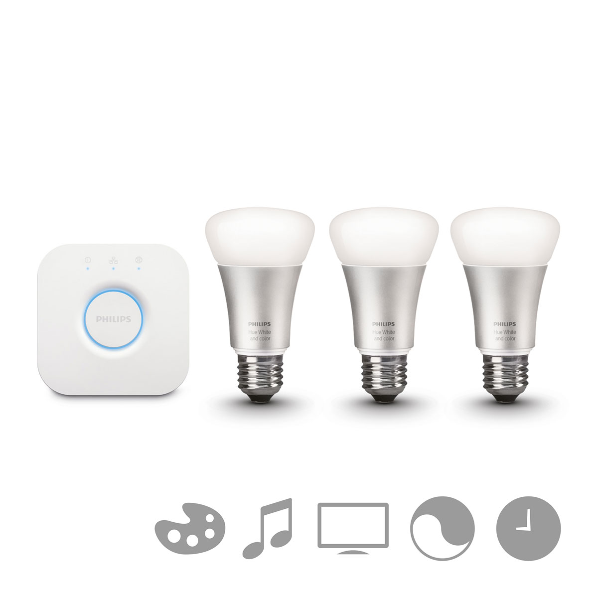 philips hue white and color starterset e27 a19 3 lampen met bridge 2 0. Black Bedroom Furniture Sets. Home Design Ideas