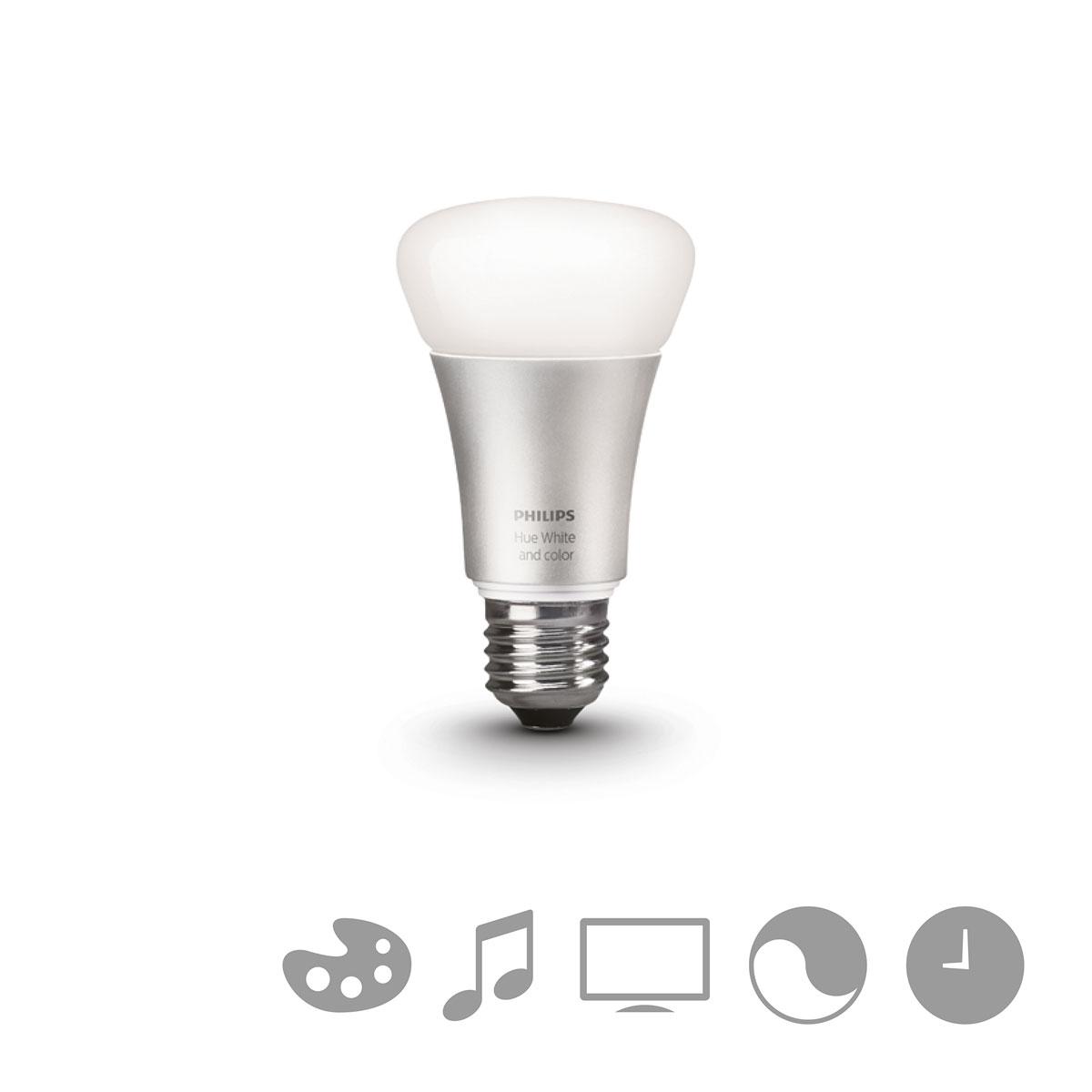 philips hue white and color starterset e27 a19 3 lampen met bridge 2 0. Black Bedroom Furniture Sets. Home Design Ideas