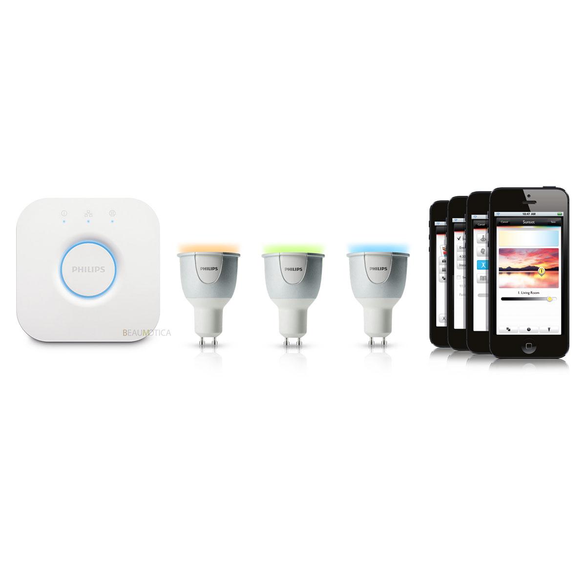 philips hue gu10 white and color starter pack 3 lampen met bridge 2 0. Black Bedroom Furniture Sets. Home Design Ideas