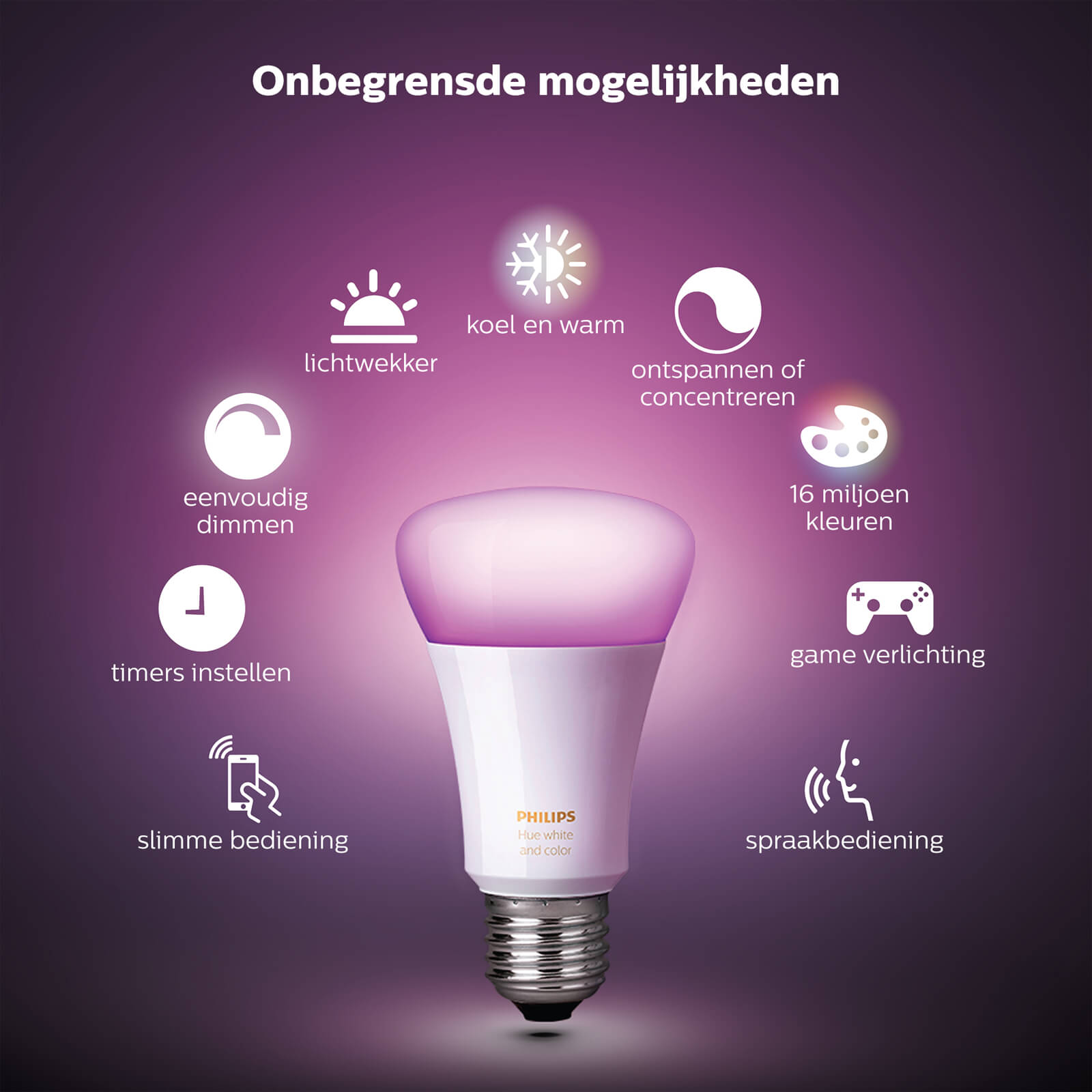 philips hue white and color e27 starterset 3 lampen bridge 2 1 schakelaar. Black Bedroom Furniture Sets. Home Design Ideas