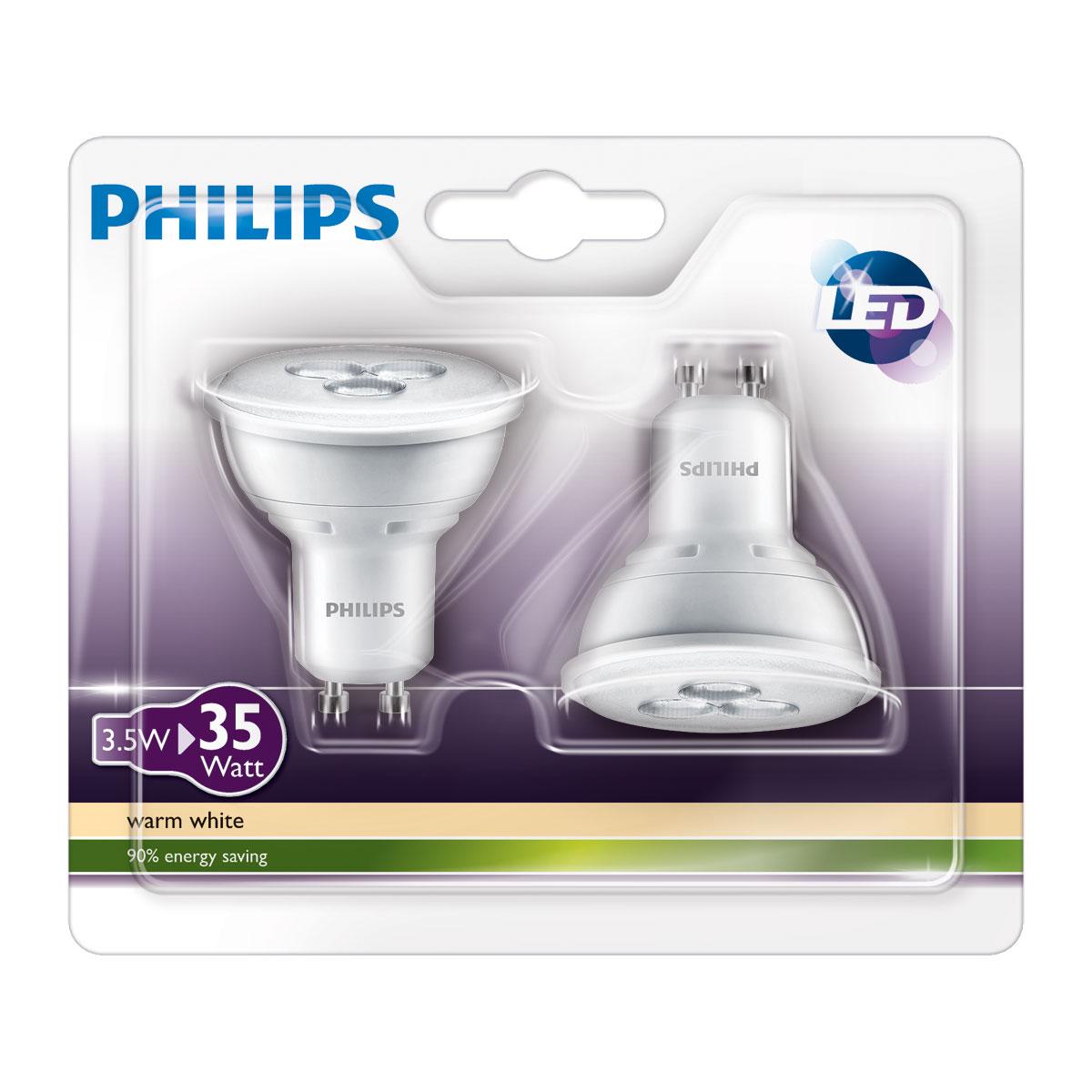 philips led lamp spot 35w gu10 set van 2 lampen. Black Bedroom Furniture Sets. Home Design Ideas